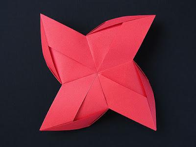 Vista posteriore, origami modulare: Girandola modulare - Modular Pinwheel by Francesco Guarnieri