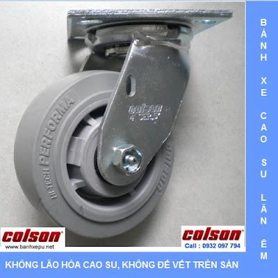 Bánh xe cao su đặc chịu lực 168kg Colson lăn không để vết | 4-5109-459 www.banhxepu.net