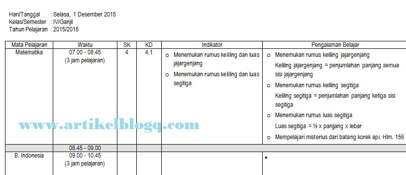 contoh format jurnal harian mengajar guru