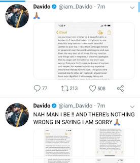 Davido apologies