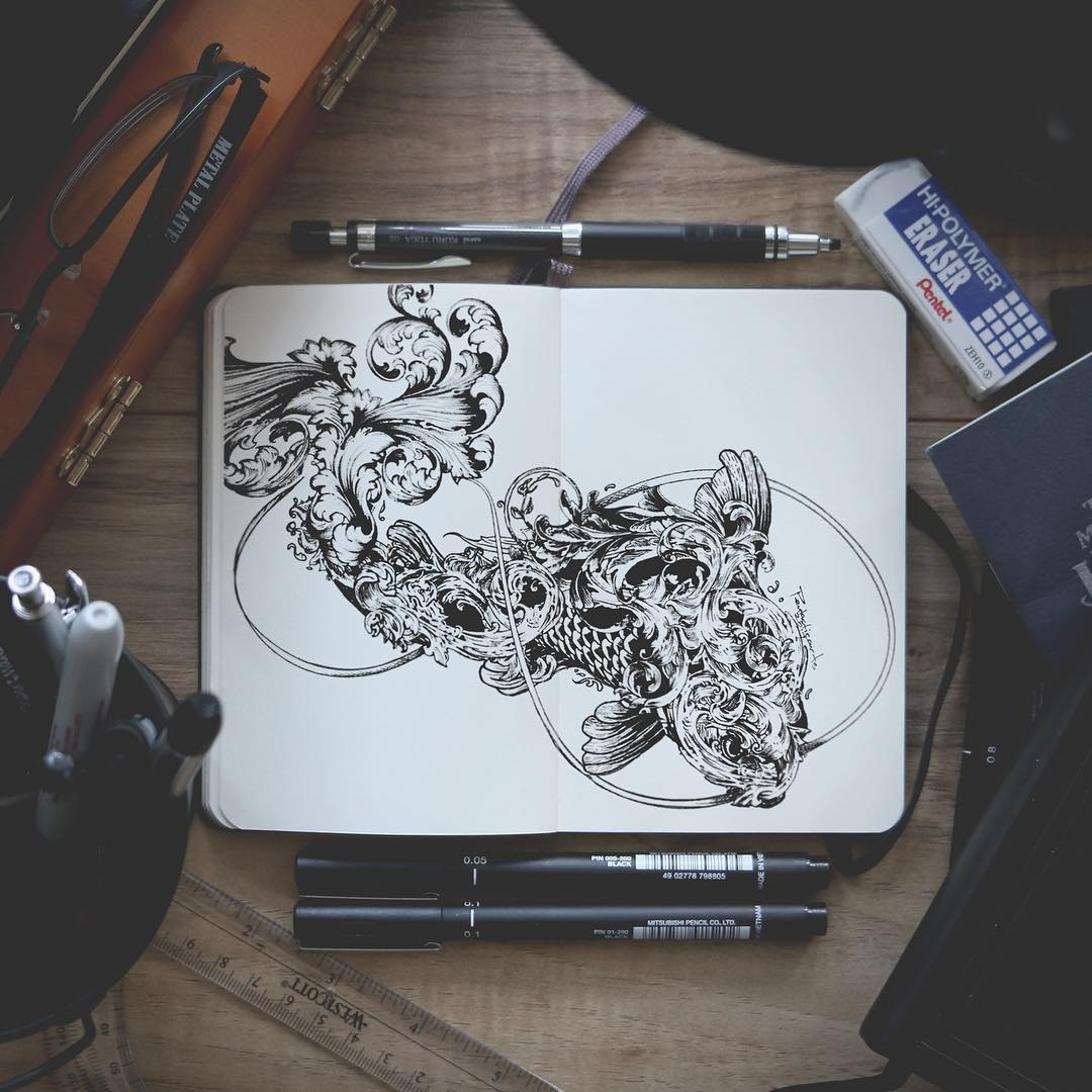 01-Wild-Filigree-Koi-Joseph-Catimbang-Doodle-Drawings-make-the-World-go-Round-www-designstack-co