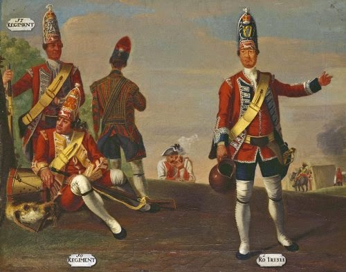 16th and 17th Regiments of Foot, and Grenadier and Drummer, 18th Royal Irish Regiment of Foot, Grenadiers, 1751