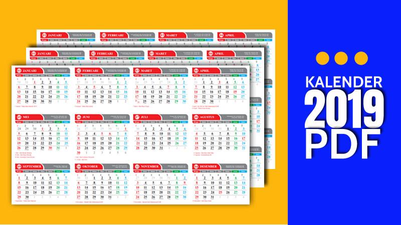 Kalender 2019 PDF Indonesia, Arab, Jawa