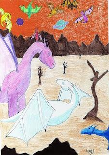 portada del Microrrelato de fantasía La dragona y sus crias