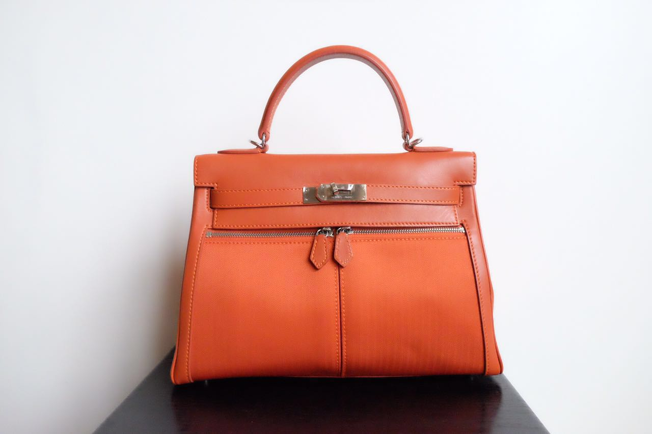 Code  Hermes Kelly 32Cm Lakhis Nylon and Swift Mirror Original Leather Bag 78d21482d5