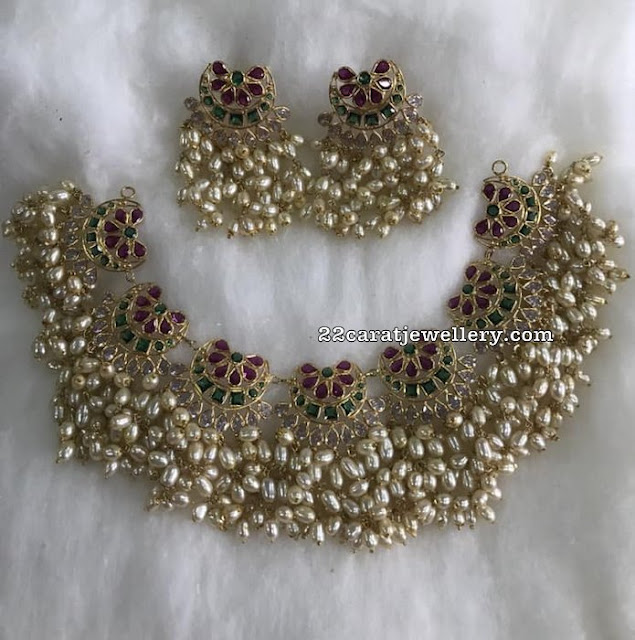 Kundan Design Rice Pearls Set