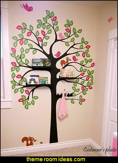 Vinyl Art Wall Decals, Shelving Tree with Birds and Squirrels