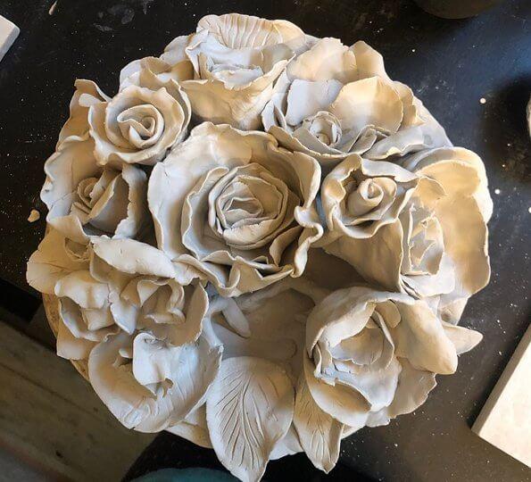 Crown Princess Mette-Marit started her first ceramics course. flower made of ceramics. Ragnhild Wik is a Norwegian ceramics artist