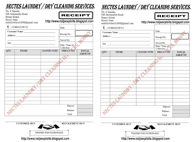 Laundry / Dry Cleaning Services Receipt Sample