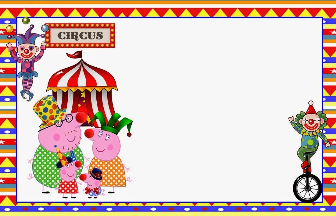 Para hacer invitaciones, tarjetas, marcos de fotos o etiquetas, para imprimir gratis de Peppa Pig en el Circo.