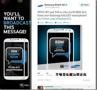 Samsung es fantástico cuando se trata de marketing, mientras que BlackBerry constantemente es criticado por su incapacidad para comercializar con eficacia, Samsung está haciendo todo el trabajo. Samsung parece algo emocionado en cuanto a la noticia de que BBM llegará a ser multiplataforma. Mientras que BlackBerry permanece en silencio sobre el lanzamiento, Extrañamente ha siado mostrado a los usuarios en el festival TIFF, Seguido de Samsung que acaba de lanzar una nueva promoción. Samsung está muy entusiasmado con el la noticia de BBM multiplataforma, Muchas campañas se han visto Sudáfrica y en su cuenta oficial.