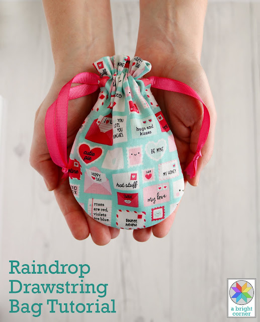 Raindrop Drawstring Bag Tutorial by Andy of A Bright Corner