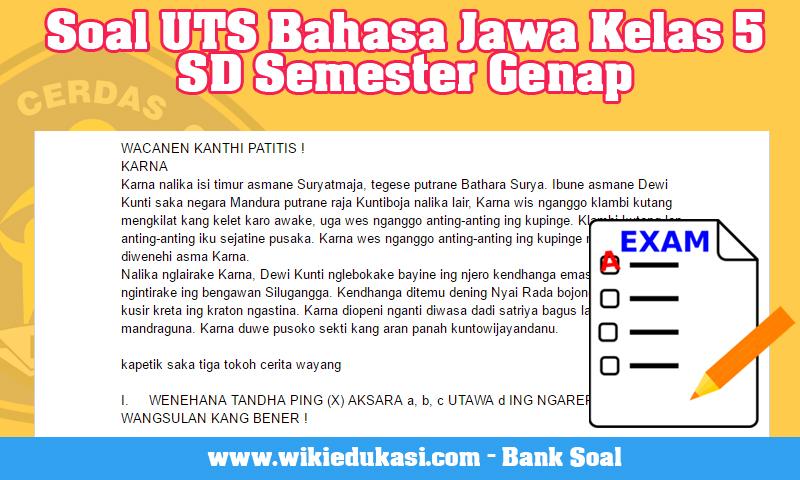 Soal UTS Bahasa Jawa Kelas 5 SD Semester Genap