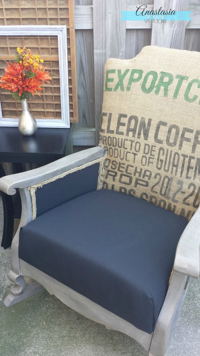 Vintage rocking chair updated with graphic burlap coffee sack and Restoration Hardware finish | Anastasia Vintage