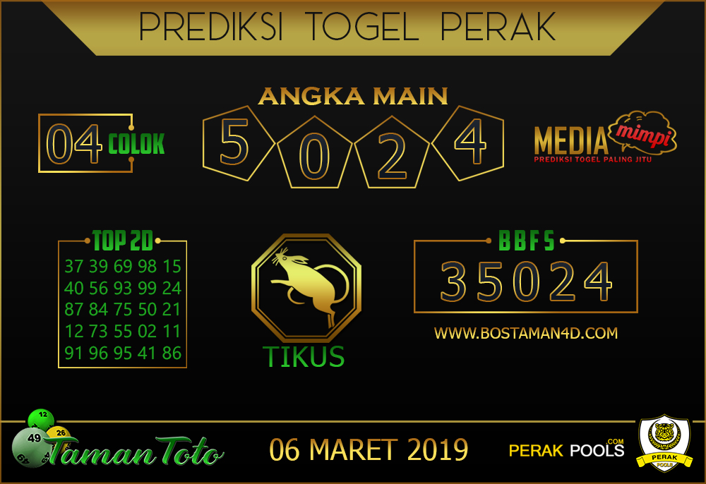 Prediksi Togel PERAK TAMAN TOTO 06 MARET 2019