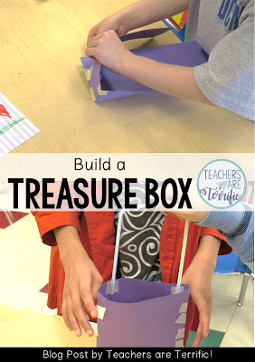 STEM Challenge using a pirate book as inspiration. First and second graders build a treasure box.