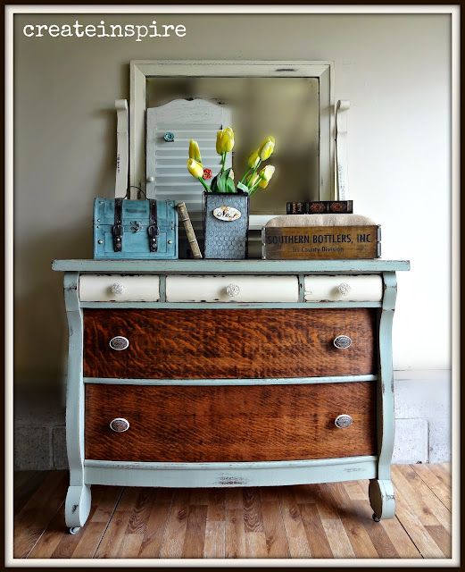 Two Tone Painted Furniture French Provincial Furniture Antique Empire Dresser Makeover From createinspire Canary Street Crafts Twotone Furniture Makeovers Canary Street Crafts