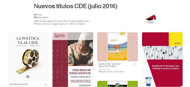 Nuevos títulos ingresados en julio en el CDE.