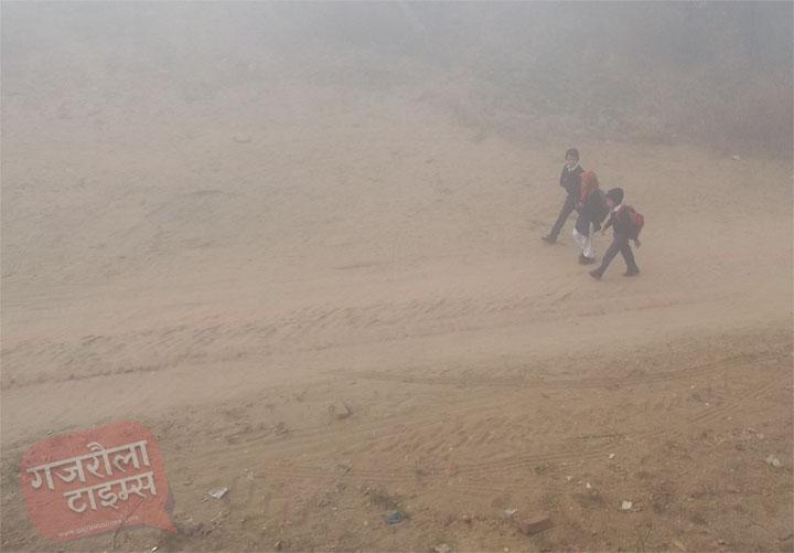 गजरौला-में-कोहरा-स्कूल-जाते-बच्चे