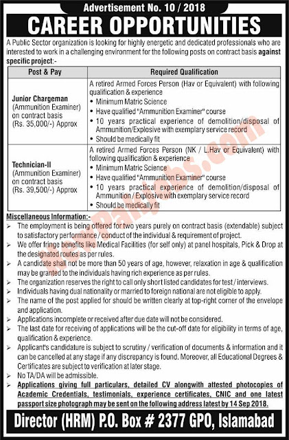 NTS Government Jobs In Public Sector Organization Islamabad