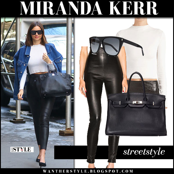 Miranda Kerr in denim jacket, white crop top and black leather pants theperfext jessica what she wore street style
