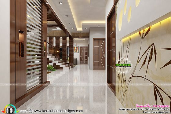 Kerala Home Foyer : Dining kitchen and foyer interiors kerala home design