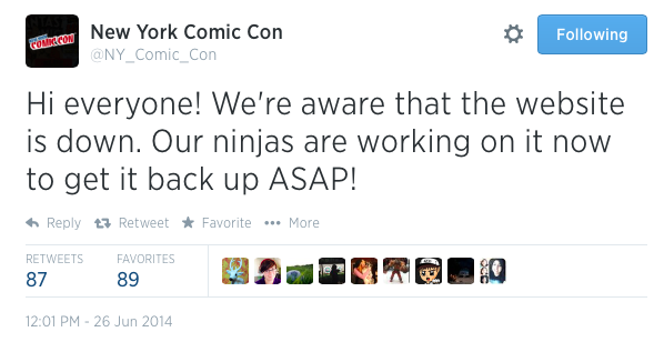 NYCC tweeted website crash
