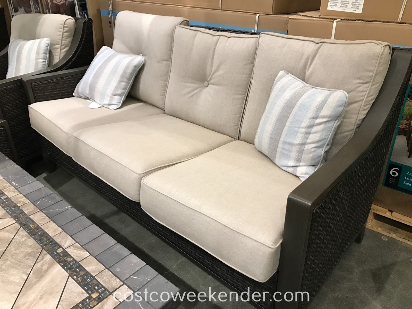 Costco 1500032 - Lounge outside and relax with the Agio 6-piece Woven Deep Seating Set