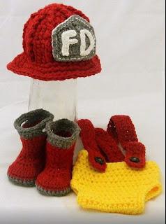 Crochet Newborn Fireman set