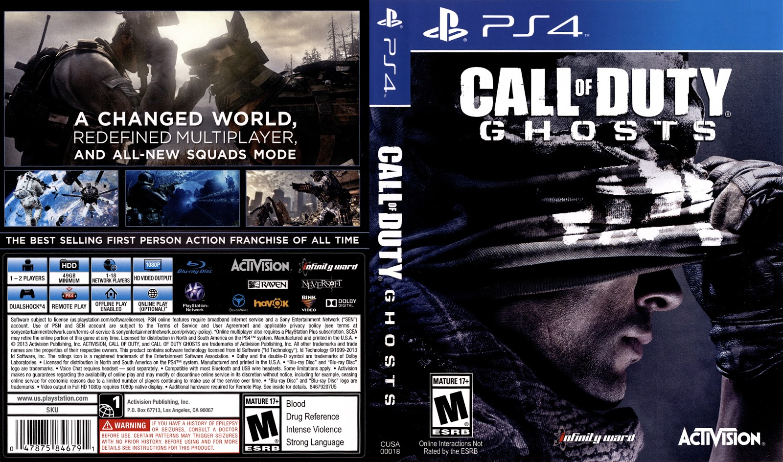 Capa Call Of Duty Ghosts PS4
