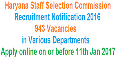 HSSC Recruitment Notification 2016-17
