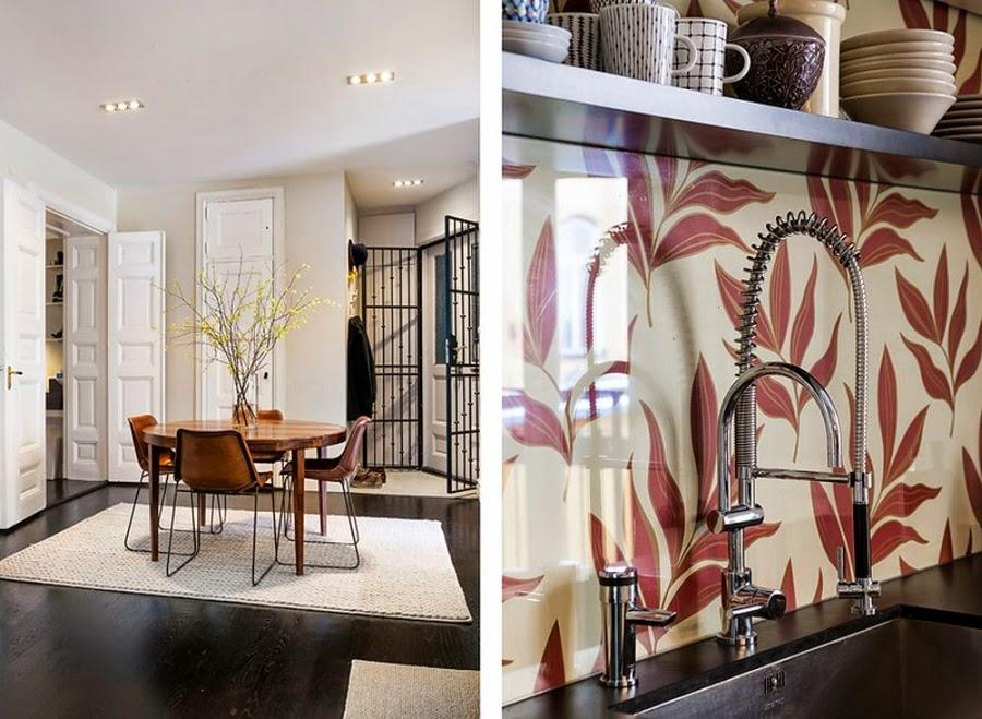 Apartament w Szwecji z kontrastową ścianą, wystrój wnętrz, wnętrza, urządzanie domu, dekoracje wnętrz, aranżacja wnętrz, inspiracje wnętrz,interior design , dom i wnętrze, aranżacja mieszkania, modne wnętrza, styl klasyczny, styl nowoczesny, ceglana ściana, ściana z cegły, kuchnia, jadalnia