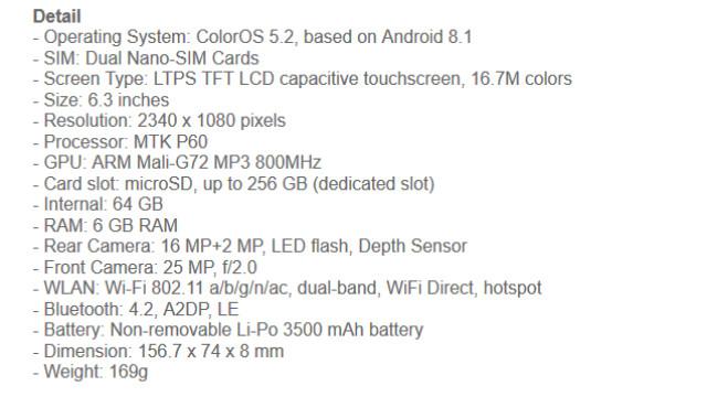 Spesifikasi HP Oppo F9 6GB di Indonesia