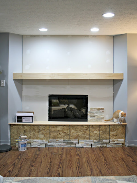 fireplace wall with electric insert