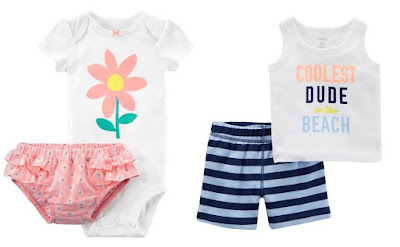 f3790d124 Carters Baby Girl 2-Pc Bodysuit Diaper Cover Set or Baby Boy 2-Pc Tank & Short  Set $4.59 + Free Shipping