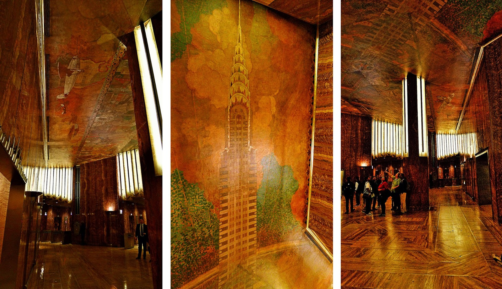 Architectural tiles glass and ornamentation in new york for Chrysler building lobby mural