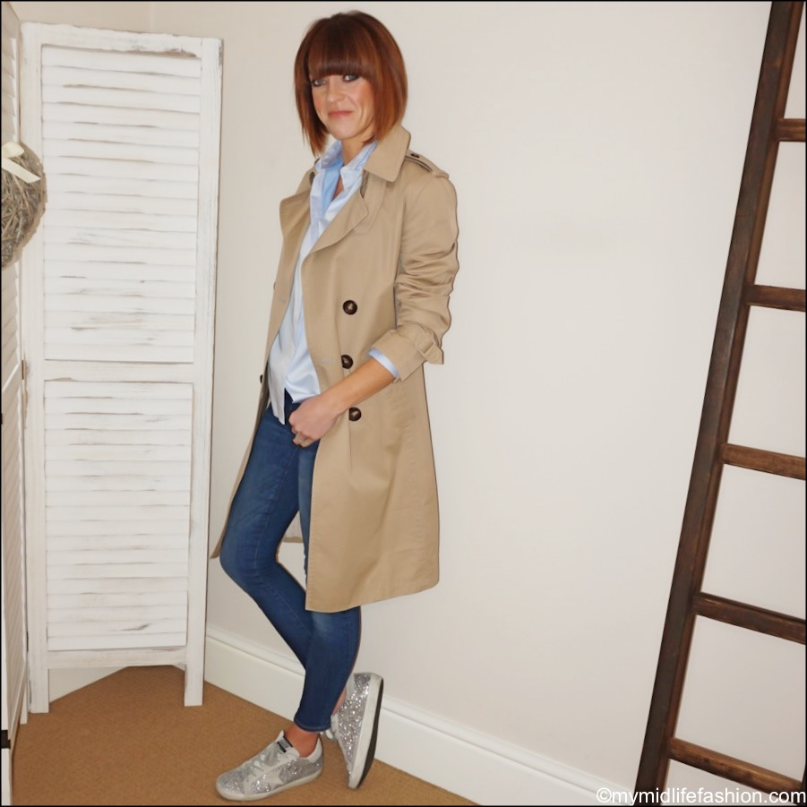 my midlife fashion, massimo dutti trench, uterque chambray shirt, j crew toothpick jeans, golden goose glitter leather low top trainers
