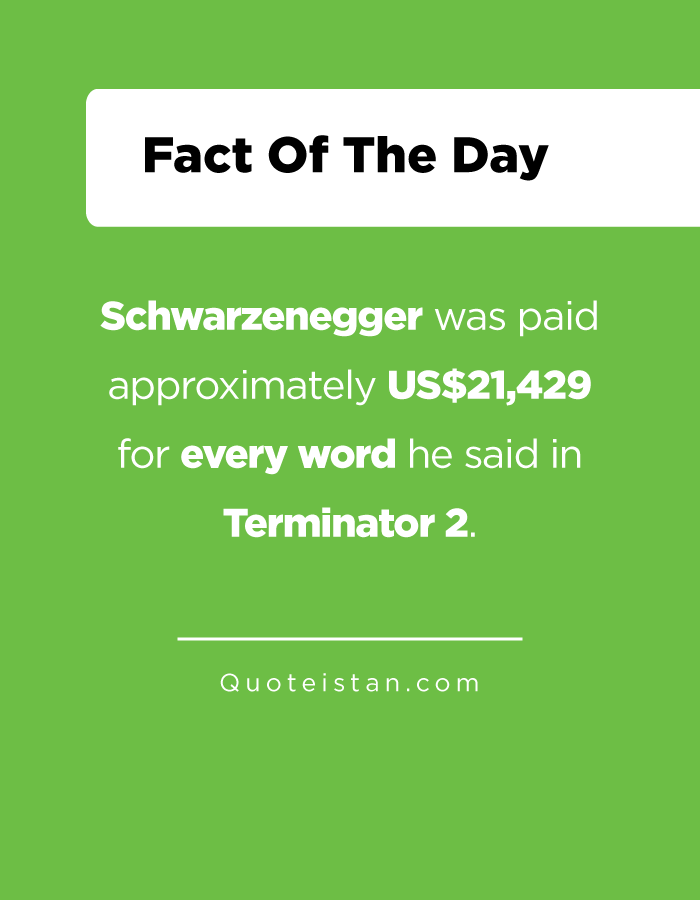 Schwarzenegger was paid approximately US$21,429 for every word he said in Terminator 2.