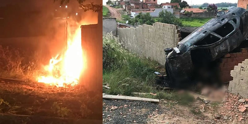 Carro pega fogo após acidente e duas pessoas morrem carbonizados em Mogi Mirim