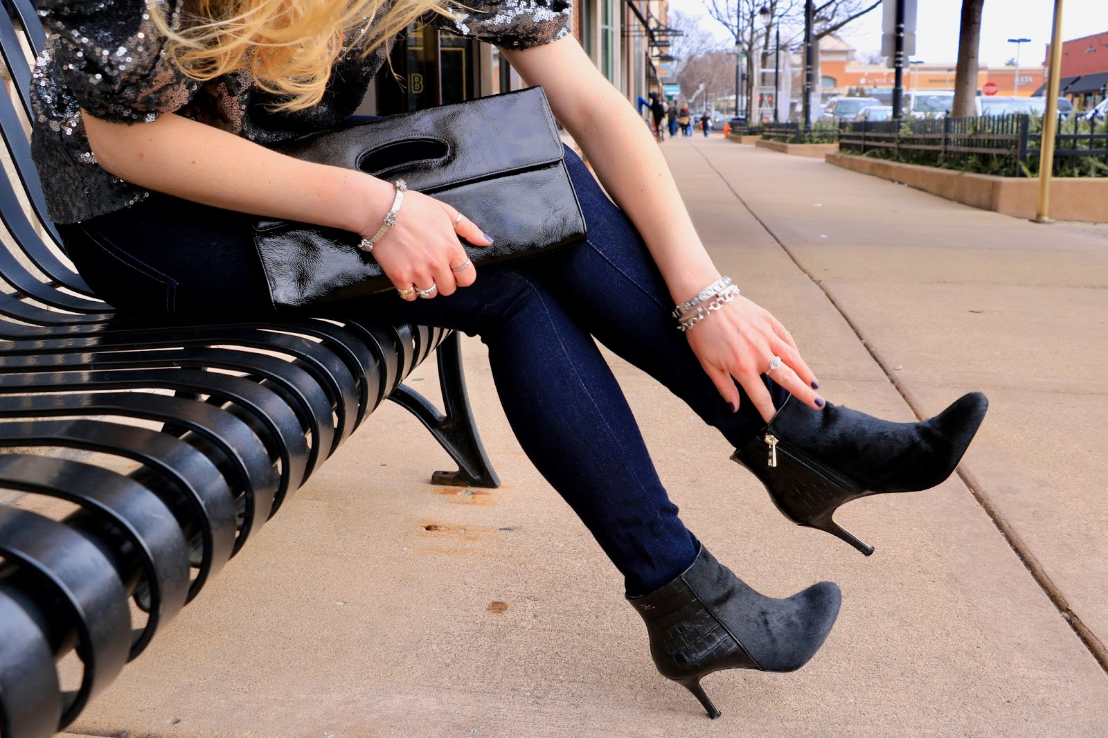 Nyc fashion blogger Kathleen Harper wearing black calf-hair booties