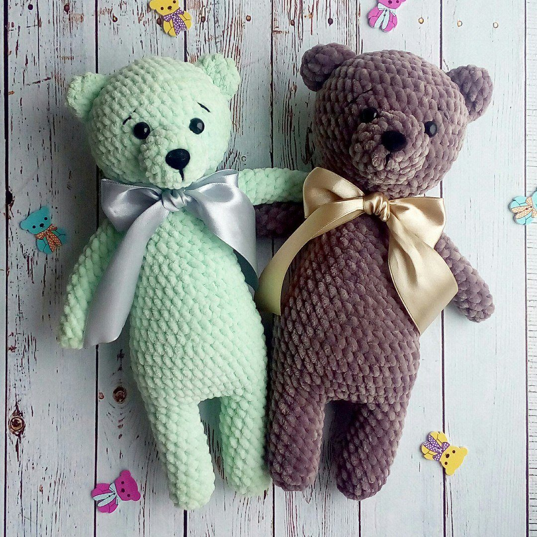 Plush bear amigurumi pattern crochet toy | Amiguroom Toys