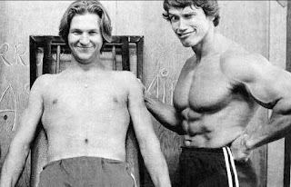Schwarzenegger y Jeff Bridges en el rodaje de Stay Hungry