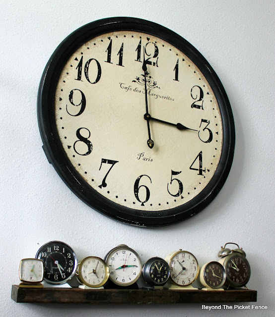 clock collection, wall shelf, level, DIY, http://bec4-beyondthepicketfence.blogspot.com/2016/04/level-shelf.html