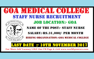 GMC Goa Staff Nurse Recruitment 2017 latest Govt Nurse Vacancy