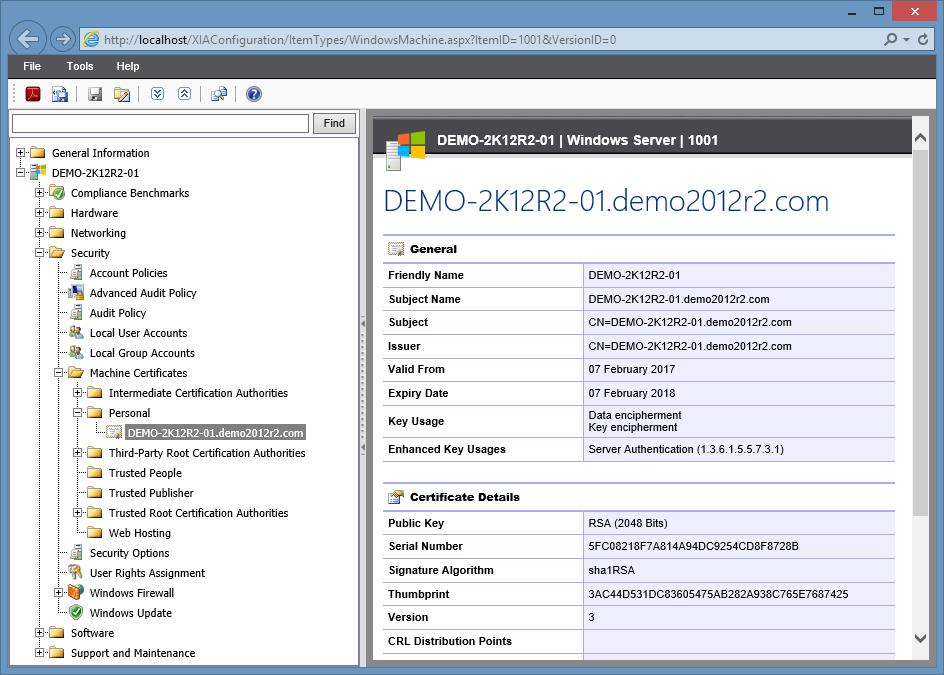 windows machine certificate expiration date in the XIA Configuration Server web interface