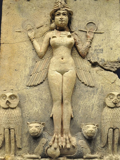 "The sacred, powerful and central Babylonian goddess Ishtar.  Her symbol was the star and she was associated with the planet Venus. "" 'Burney Relief' ...from about 1800-1750 BC."""