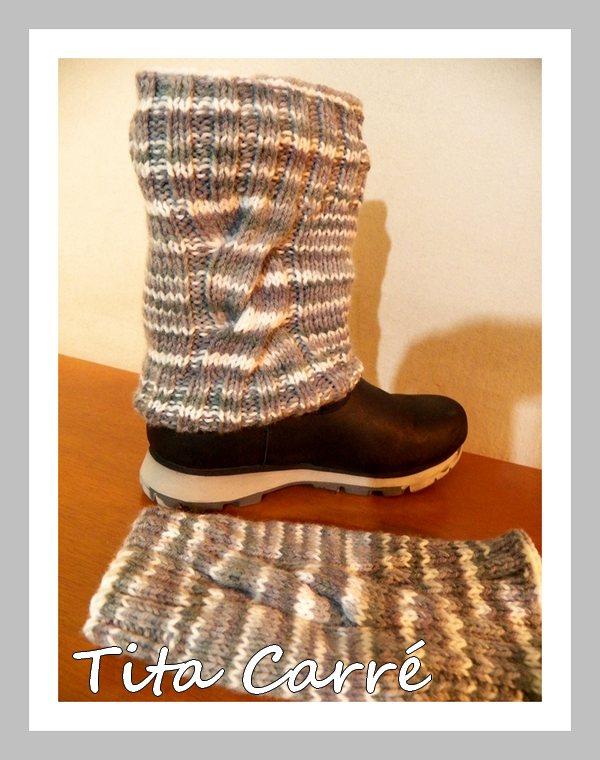Tita Carré Agulha e Tricot   Boots Cuffs de botas Gray em tricot e ... b782a0d602ce3