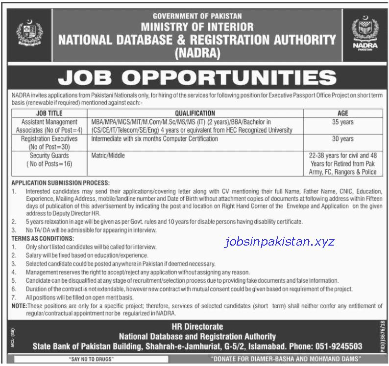 Advertisement for NADRA Jobs February 2019