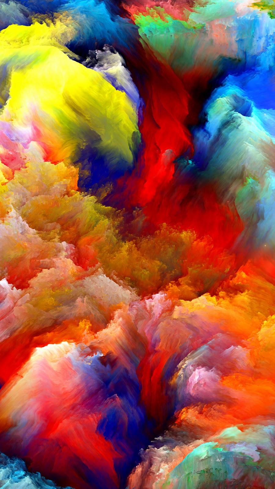 Wallpaper Android Abstrak Colorful Lukisan Awan