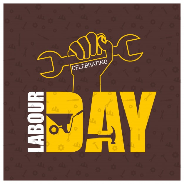 Labour day background with hand holding tool Free Vector